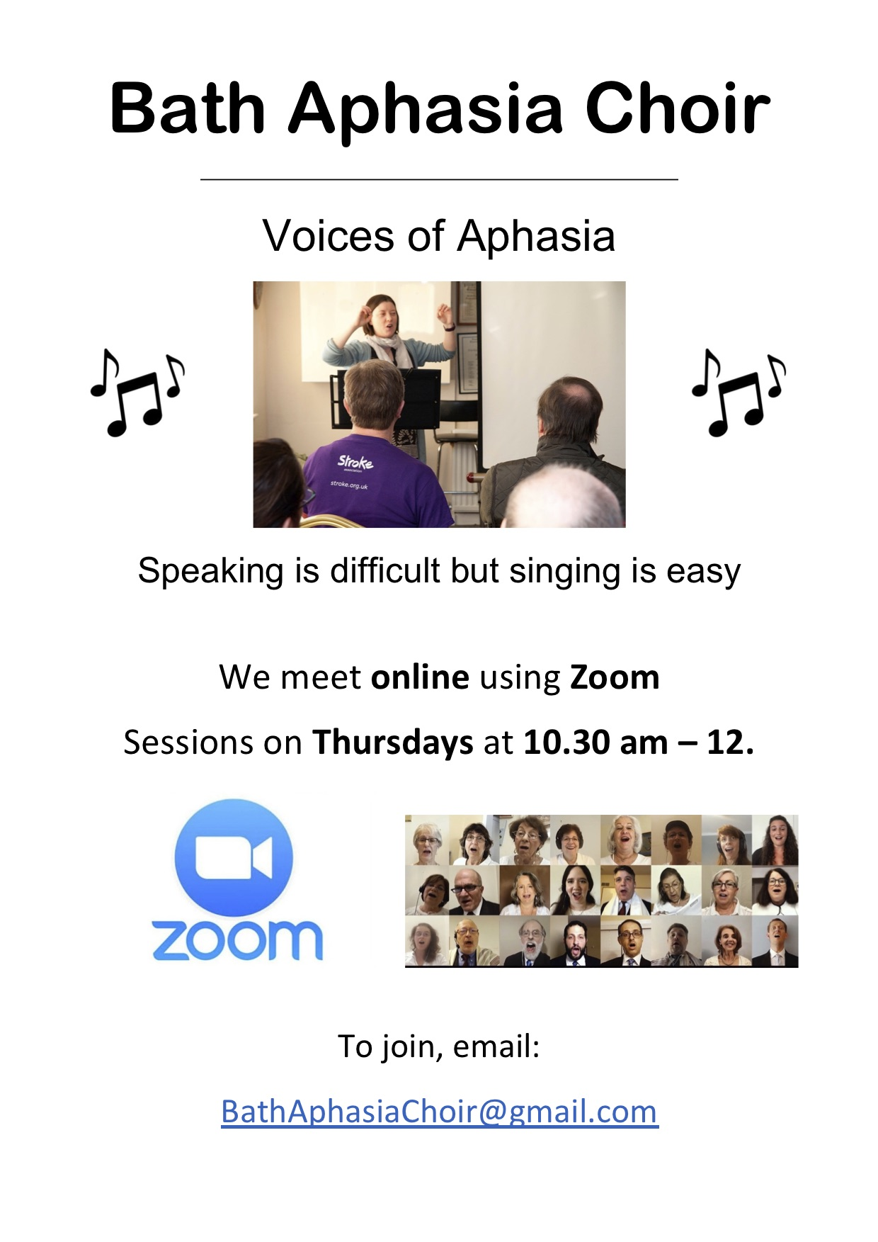 Bath Aphasia Choir flyer for zoom sessions